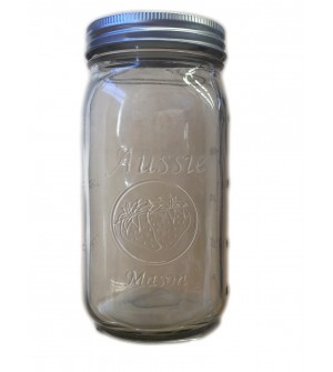 Aussie Mason 86mm Mouth (WIDE) 1000ml QUART Jars & Lids  x 12