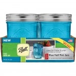 Ball Elite BLUE Regular mouth half pint 240ml jars and Lids x 4  NEW!