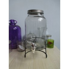 Mason Jar Drink Dispenser 4L - With Free Metal Stand
