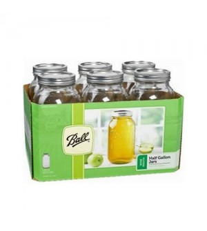 Ball Wide mouth Half Gallon  Jars & Lids x 6